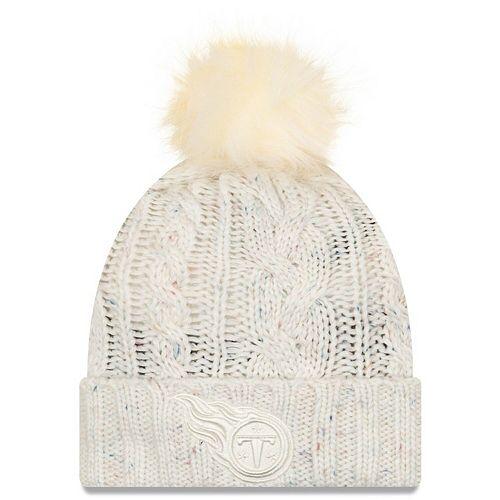 Women's New Era Cream Tennessee Titans Cuffed Knit Hat with Fuzzy Pom