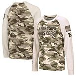 Youth Colosseum Oatmeal Nebraska Cornhuskers OHT Military Appreciation Desert Camo Raglan Long Sleeve T-Shirt