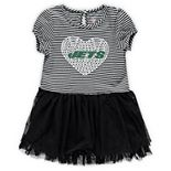 Girls Toddler Black/White New York Jets Celebration Tutu Sequins Dress