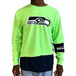 Men's Refried Apparel Neon Green/College Navy Seattle Seahawks Upcycled Angle Long Sleeve T-Shirt