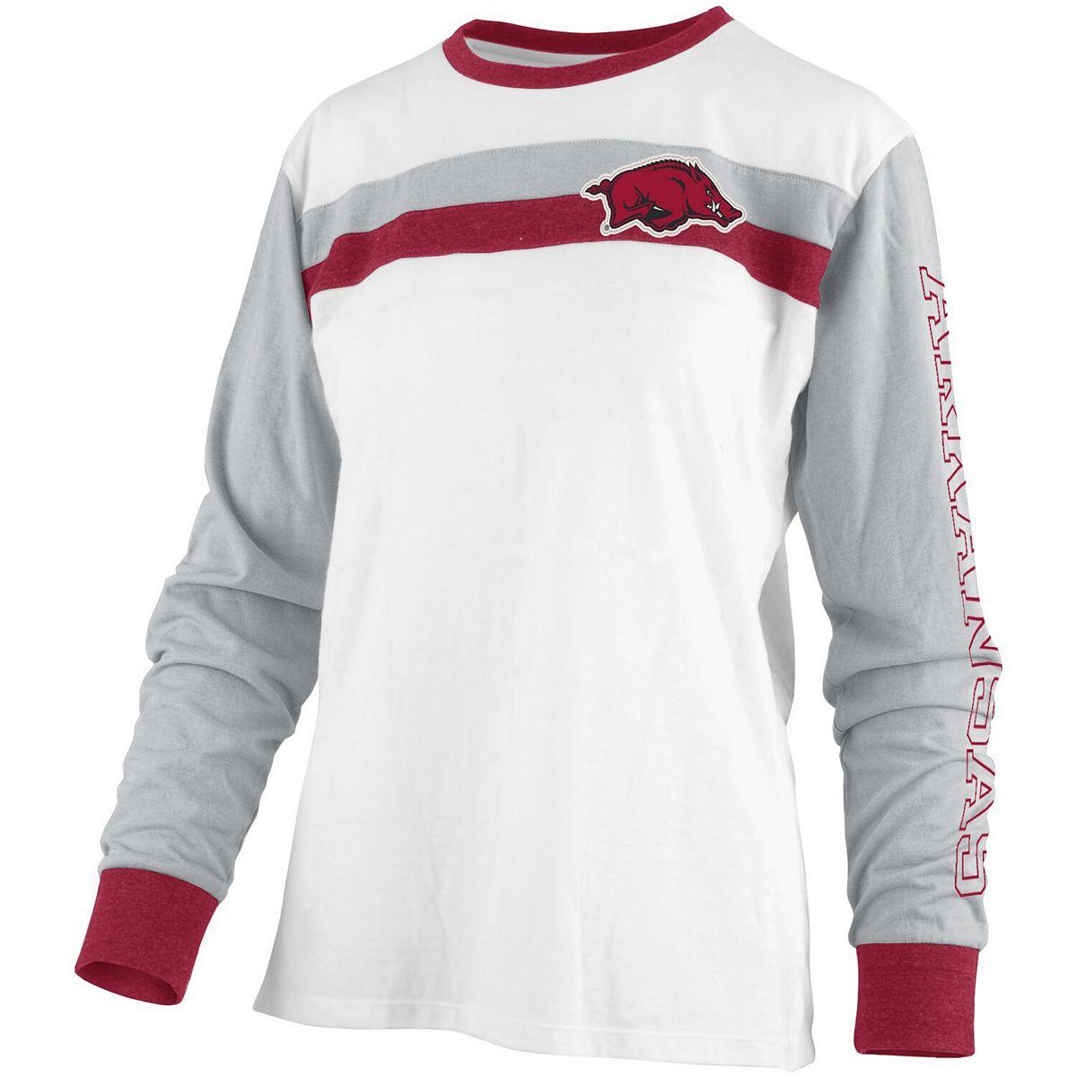 Women's Pressbox White Arkansas Razorbacks Schroeder Ringer Two-Hit Long Sleeve T-Shirt SwymI