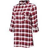 Women's Concepts Sport Maroon/Black Texas A&M Aggies Plus Size Piedmont Flannel Long Sleeve Button-Up Nightshirt