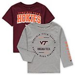 Toddler Maroon/Heathered Gray Virginia Tech Hokies Club Short Sleeve and Long Sleeve T-Shirt Combo Set
