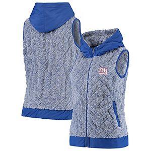 Women's Antigua Heathered Royal New York Giants Fame Hooded Full-Zip Vest