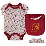 Girls Infant Cardinal USC Trojans Maloney Bodysuit, Bib and Headband Set