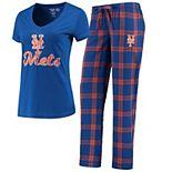 Women's Concepts Sport Royal/Orange New York Mets Troupe V-Neck T-Shirt & Pants Sleep Set