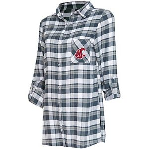 Women's Concepts Sport Charcoal/Gray Washington State Cougars Piedmont Flannel Long Sleeve Button-Up Nightshirt