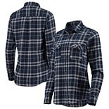 Women's Antigua Navy/Gray New England Patriots Stance Flannel Button-Up Long Sleeve Shirt