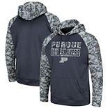 Youth Colosseum Charcoal Purdue Boilermakers OHT Military Appreciation Digi Camo Raglan Pullover Hoodie