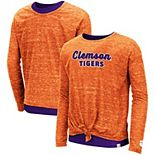 Girls Youth Colosseum Orange Clemson Tigers Brain Double Layer Front Tie Long Sleeve T-Shirt