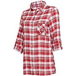 Women's Concepts Sport Crimson/Gray Indiana Hoosiers Piedmont Flannel Long Sleeve Button-Up Nightshirt