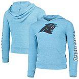 Girls Youth New Era Heathered Blue Carolina Panthers Tri-Blend Pullover Hoodie