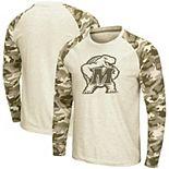 Men's Colosseum Oatmeal Maryland Terrapins OHT Military Appreciation Desert Camo Raglan Long Sleeve T-Shirt