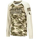 Youth Colosseum Oatmeal Miami Hurricanes OHT Military Appreciation Desert Camo Raglan Long Sleeve T-Shirt