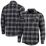 Men's Antigua Black/Gray New Orleans Saints Stance Flannel Button-Up Long Sleeve Shirt