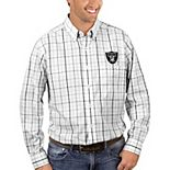 Men's Antigua White/Black Oakland Raiders Keen Long Sleeve Button-Down Shirt
