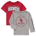 Toddler Crimson/Heathered Gray Oklahoma Sooners Club Short Sleeve and Long Sleeve T-Shirt Combo Set