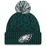 Girls Youth New Era Midnight Green Philadelphia Eagles Cozy Cable Cuffed Knit Hat with Pom