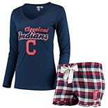 Women's Concepts Sport Navy/Red Cleveland Indians Piedmont V-Neck Long Sleeve T-Shirt and Shorts Sleep Set