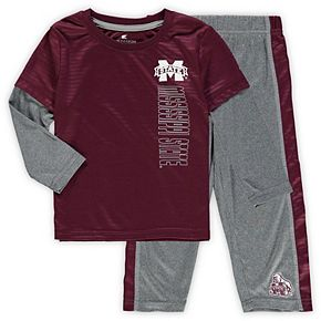 Toddler Colosseum Maroon/Heathered Gray Mississippi State Bulldogs Bayharts Long Sleeve T-Shirt and Pants Set