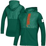 Men's adidas Green Miami Hurricanes 2019 Sideline Game Mode Full-Zip Jacket