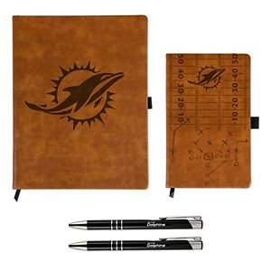Sparo Miami Dolphins Laser-Engraved Notepad & Pen Gift Set