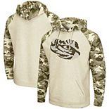 Men's Colosseum Oatmeal LSU Tigers OHT Military Appreciation Desert Camo Raglan Pullover Hoodie