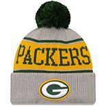 Youth New Era Gray Green Bay Packers Stripe Cuffed Knit Hat with Pom