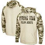 Men's Colosseum Oatmeal Georgia Tech Yellow Jackets OHT Military Appreciation Desert Camo Raglan Pullover Hoodie
