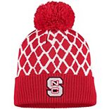 Men's adidas Red NC State Wolfpack Logo Front Cuffed Knit Hat with Pom