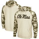 Men's Colosseum Oatmeal Ole Miss Rebels OHT Military Appreciation Desert Camo Raglan Pullover Hoodie