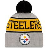 Youth New Era Gray Pittsburgh Steelers Stripe Cuffed Knit Hat with Pom