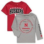 Toddler Scarlet/Heathered Gray Nebraska Cornhuskers Club Short Sleeve and Long Sleeve T-Shirt Combo Set