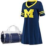 Women's Navy Michigan Wolverines Football Jersey Night Dress & Mini Duffel Bag Set