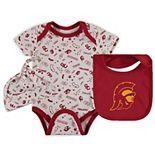 Infant White USC Trojans Bodysuit, Bib & Hat Set