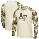 Men's Colosseum Oatmeal Air Force Falcons OHT Military Appreciation Desert Camo Raglan Long Sleeve T-Shirt
