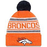 Youth New Era Orange Denver Broncos Toasty Cover Pom Cuffed Knit Hat