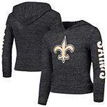 Girls Youth New Era Heathered Black New Orleans Saints Tri-Blend Pullover Hoodie