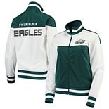 Women's G-III 4Her by Carl Banks White/Midnight Green Face Off Raglan Full-Zip Track Jacket