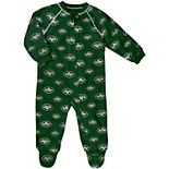 Infant Green New York Jets Raglan Full-Zip Sleeper