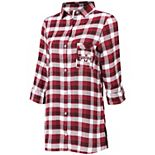 Women's Concepts Sport Maroon/Black Mississippi State Bulldogs Piedmont Flannel Long Sleeve Button-Up Nightshirt