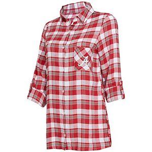 Women's Concepts Sport Crimson/Gray Alabama Crimson Tide Piedmont Flannel Long Sleeve Button-Up Nightshirt