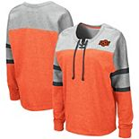 Women's Colosseum Orange Oklahoma State Cowboys Manolo Lace-Up French Terry Pullover Sweatshirt