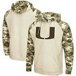 Men's Colosseum Oatmeal Miami Hurricanes OHT Military Appreciation Desert Camo Raglan Pullover Hoodie
