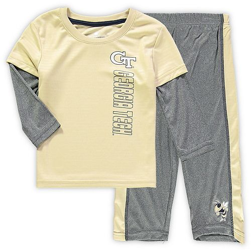 Toddler Colosseum Gold/Heathered Gray Georgia Tech Yellow Jackets Bayharts Long Sleeve T-Shirt and Pants Set