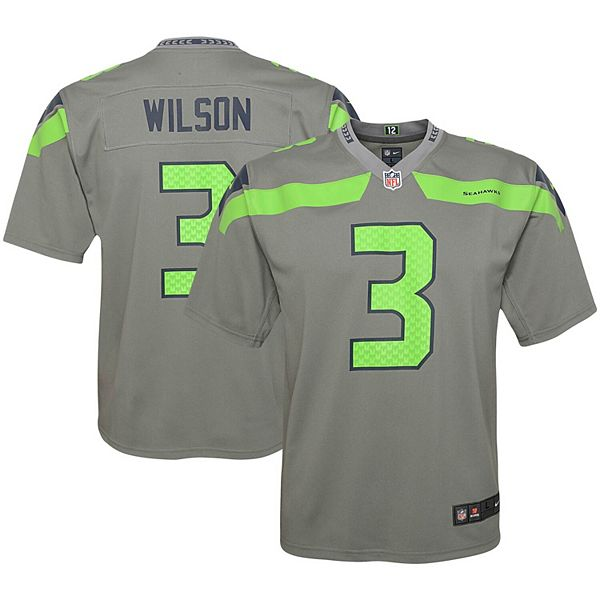 Youth Nike Russell Wilson Gray Seattle Seahawks Inverted Game Jersey