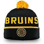 Men's Fanatics Branded Black Boston Bruins Iconic Stroke Cuffed Knit Hat with Pom