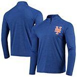 Men's Majestic Heathered Royal New York Mets Striated Primary Logo Cool Base Raglan Half-Zip Pullover Jacket