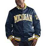 Men's Starter Navy Michigan Wolverines O-Line Varsity Full-Button Satin Jacket