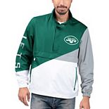 Men's G-III Sports by Carl Banks Green/White New York Jets Double Team Half-Zip Pullover Jacket